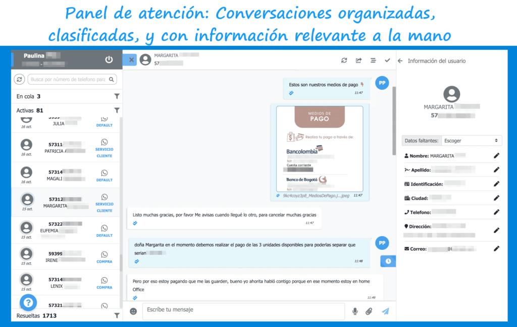 Panel de atención: conversaciones organizadas, clasificadas y con información relevante a la mano
